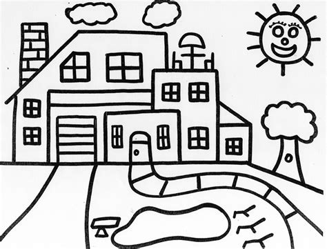coloring pages inside the house free coloring pages of house drawing