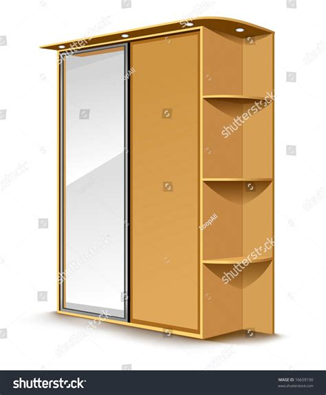 Wooden Wardrobe With Mirror by Vector Wooden Wardrobe With Mirror And Shelfs Isolated On