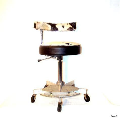Pottery Barn Cowhide Stool vintage industrial upcycled chair adjustable metal stool