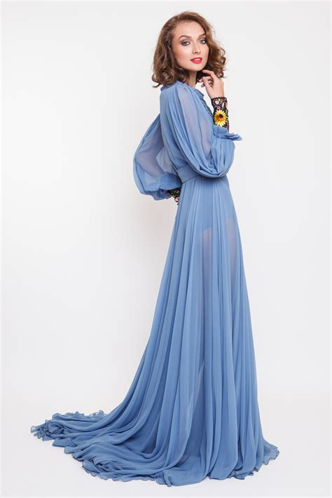 Maxi Spandek Lipit 1 rochie maxi din matase cu mansete din broderie manuala rozalia bot