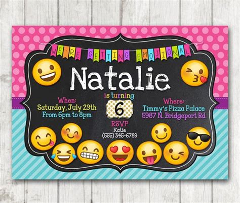 printable emoji birthday invitations printable emoji birthday party invitation emoji