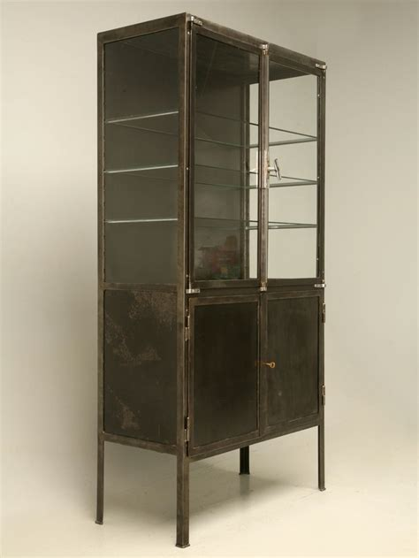 Industrial Look Vintage French Steel And Glass Cabinet