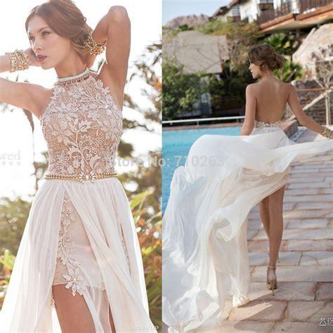 2014 Beach Chiffon Wedding Dresses Sexy Halter Backless