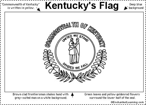 Kentucky Flag Printout Enchantedlearning Com Kentucky State Flag Coloring Page