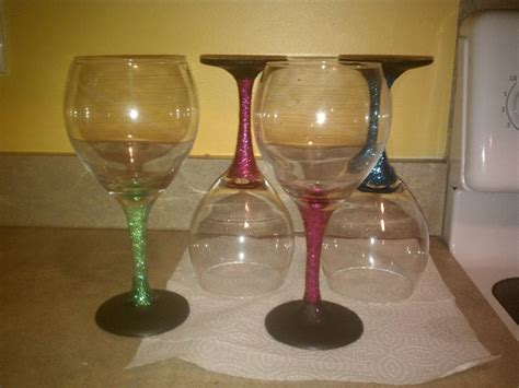 chalk paint glass diy glittery wine glasses with chalk board paint on base