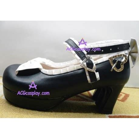 Heels Dbl Pita Kyt04 black and white bowknot princess shoes shoes boots shoes