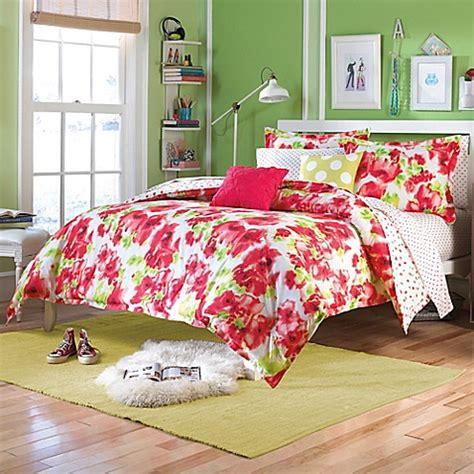 bed bath and beyond teen bedding teen vogue 174 painted poppy comforter set in red bed bath