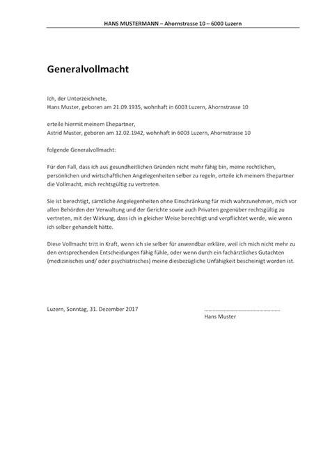 Muster Vorsorgeauftrag Schweiz vollmacht vorlage schweiz muster und vorlagen kostenlos