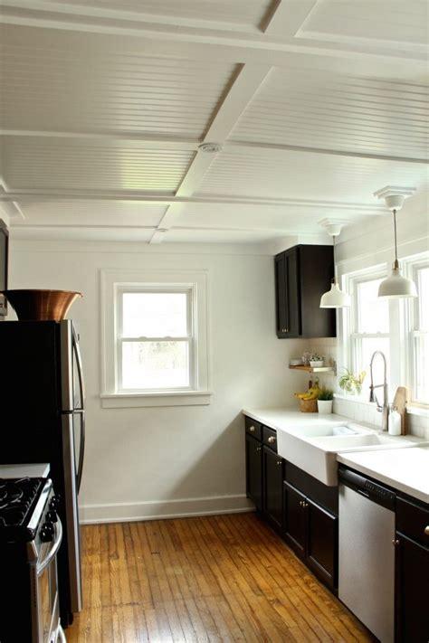 mdf beadboard ceiling rehab diaries diy beadboard ceilings lighting kitchen
