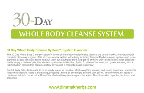 Thrive Health Systems 30 Day Detox by 30 Day Whole Cleanse System Dimmak Herbs