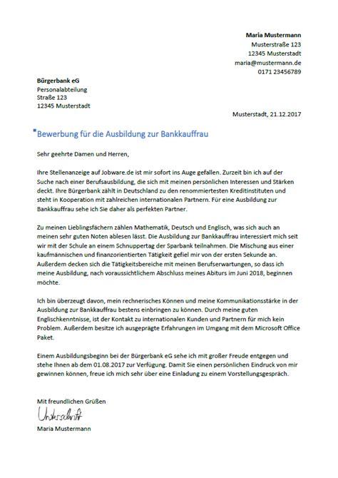 deutsche bank ausbildung bankkaufmann bewerbung als bankkaufmann bankkauffrau bewerbungsmuster