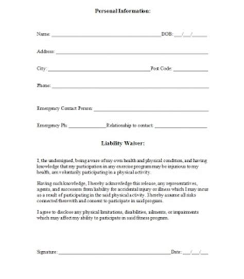 pin liability waivers signatures forbidden free printable