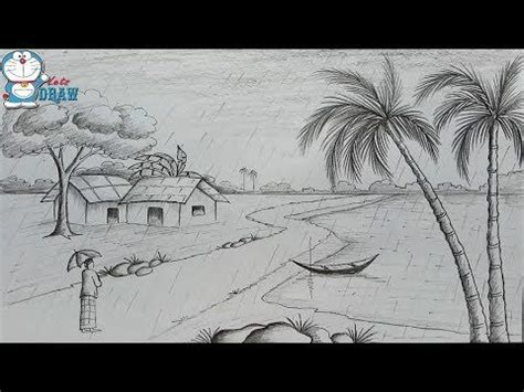 Sketches For Class 9 by How To Draw Scenery Of Rainy Season By Pencil Sketch Step