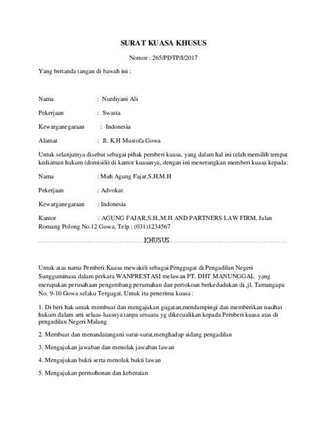 Contoh Surat Kuasa Perkara Perdata - Kumpulan Contoh Surat