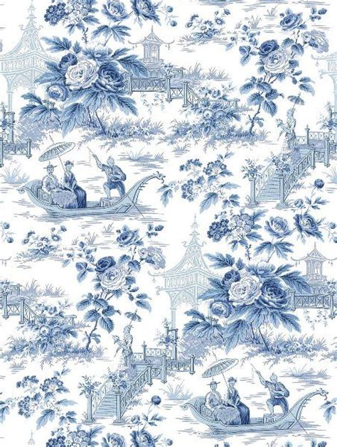 Wallpaper Blue China | oriental garden toile wallpaper china blue and white lou