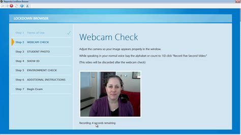 using lockdown browser with a webcam the student - Test Web Cam