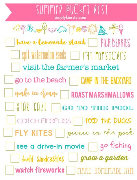 Pinterest Home Decor On A Budget summer bucket list printable simply kierste design co