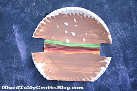 How To Make A Paper Hamburger - paper plate hamburger kid craft glued to my crafts