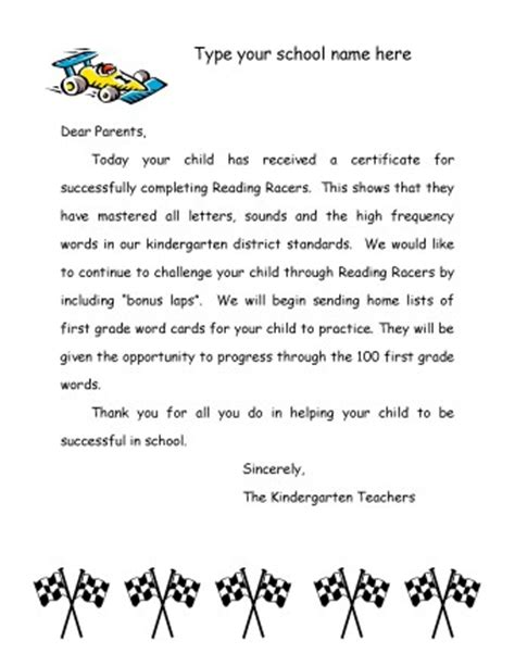 Kindergarten Parent Letter Template Reading Racers Kindergarten Parent Letter