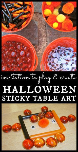halloween themes for preschool invitation to play halloween sticky table art fun a day