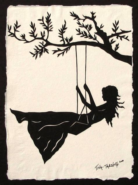 silhouette swing girl on a swing papercut hand cut silhouette