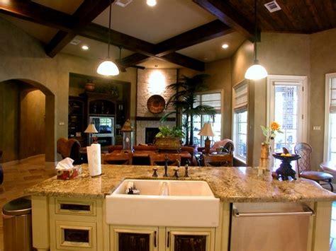 kitchen great room design балки на потолке дом мечты