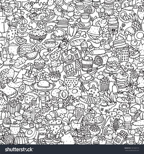 doodle mode food seamless pattern black white repeated stock vector
