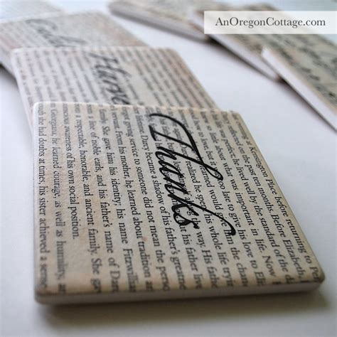 Decoupage With Book Pages - book page and sheet decoupaged coasters