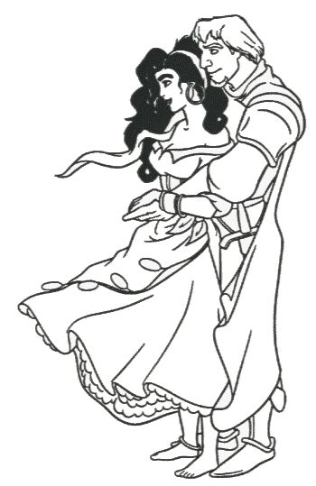 disney esmeralda coloring page free esmeralda and phoebus coloring pages