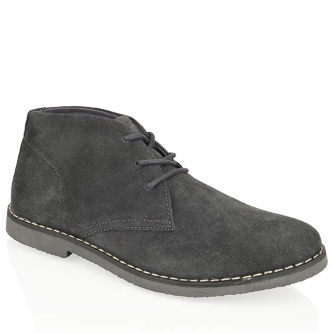 mens suede work boots mens boys ankle chukka desert suede leather lace comfort