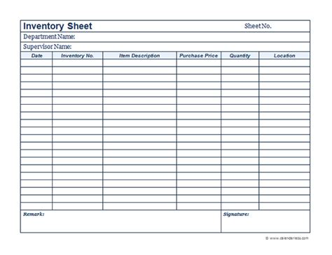 business inventory template  printable templates