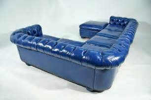 Blue Leather Sectional Sofa Bright Blue Leather Chesterfield Sectional Sofa With Ottoman At 1stdibs