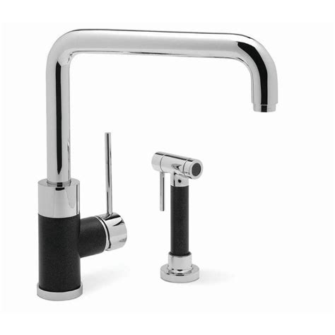 blanco kitchen faucets shop blanco blancochelsea anthracite chrome black 1 handle deck mount high arc kitchen faucet