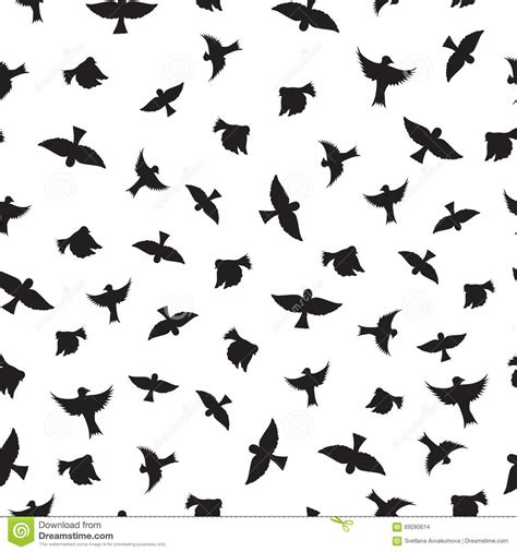 black and white bird pattern birds seamless pattern black silhouettes of birds stock