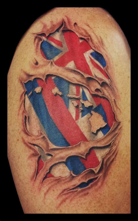 skin ripping tattoos hawaiian flag ripping through skin by jasonhanks on