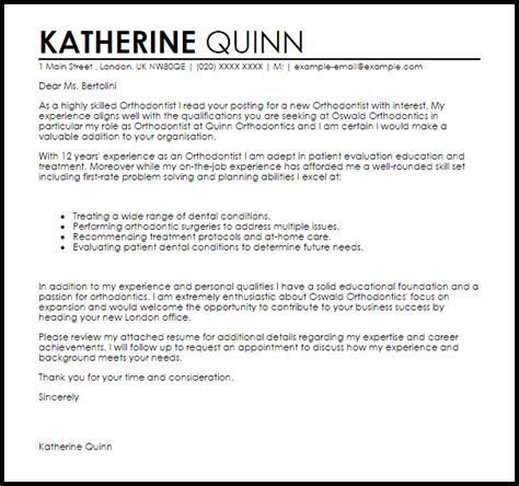 Orthodontic Technician Cover Letter by Orthodontist Cover Letter Sle Livecareer
