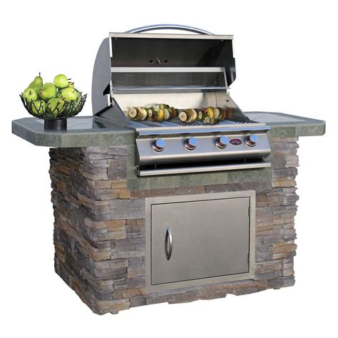 Kitchen Island Cart Plans cal flame 6 ft natural stone and tile grill island with 4