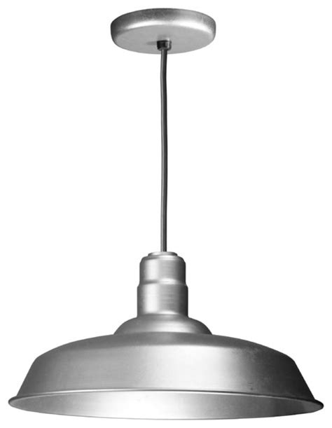 Galvanized Pendant Barn Light Aluminum Vintage Warehouse Reflector Barn Style Cord Hung Pendant Galvanized Pendant Lighting