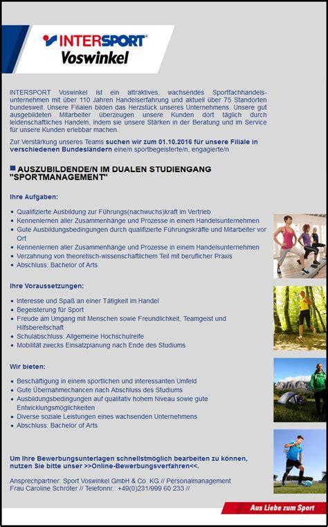 Bewerbungsschreiben Ferienjob Nach Abi Duales Studium Sportmanagement Infos Studieng 228 Nge