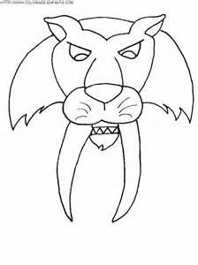 coloriage tigre aux dents de sabre dessin enfant 224