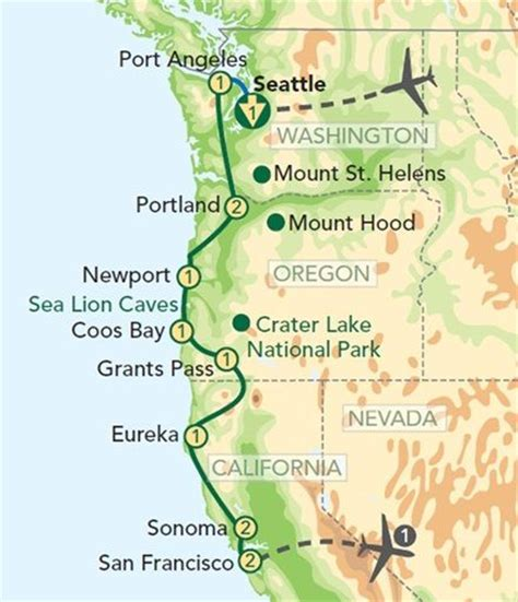 Map Of Pch From La To San Francisco - map oregon pacific coast oregon and the pacific coast from seattle to san francisco