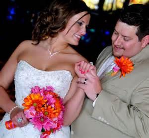 silk bridal bouquets pink orange wedding flower package 12