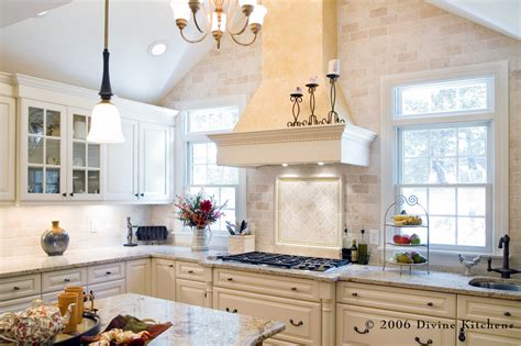 Kitchen Hood Designs Tumbled Marble Backsplash Kitchen Traditional With None