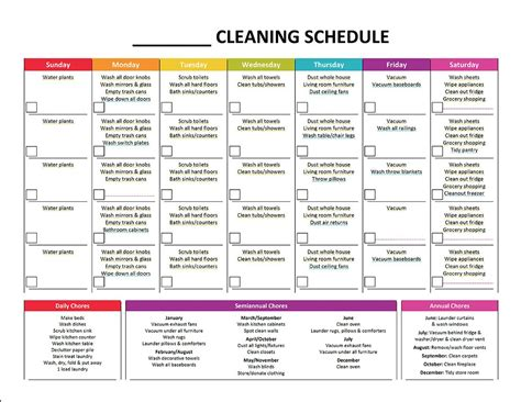 organizing schedule template complete housekeeping printable set monthly cleaning
