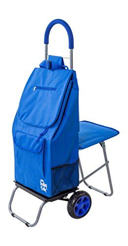 Compact Sit Shopping Cart Hippyshopper by Trolley Dolly With Seat Blue Shopping Grocery Foldable