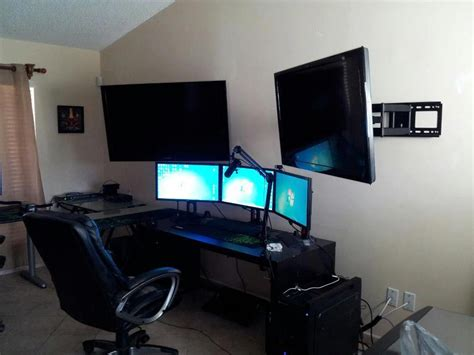 cool home office setups nice workstation set up multi display with different size