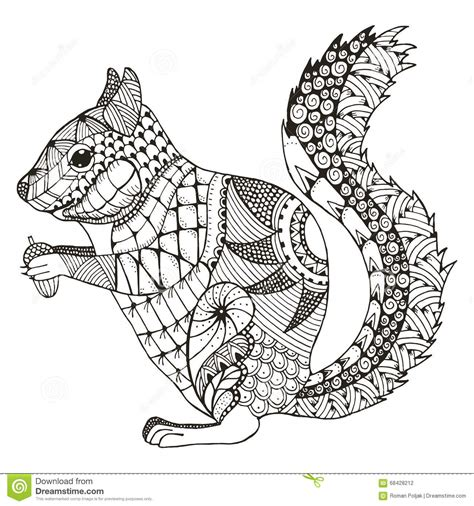 color pattern drawing squirrel zentangle stylized vector illustration pattern
