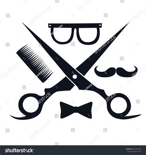 barbershop logo scissors mustache comb barbershop stock