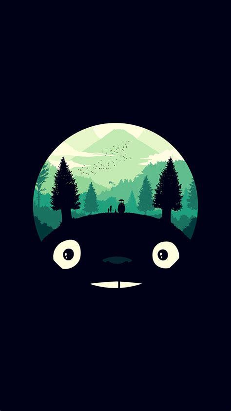 ao totoro art illust simple cute dark wallpaper