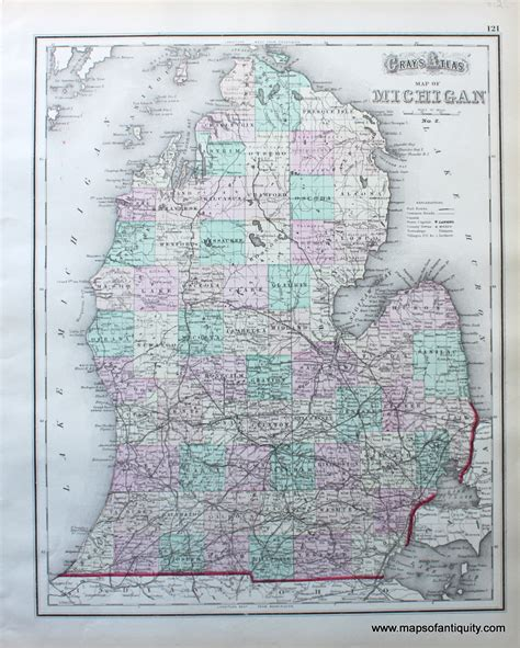 atlas map of gray s atlas map of michigan antique maps and charts